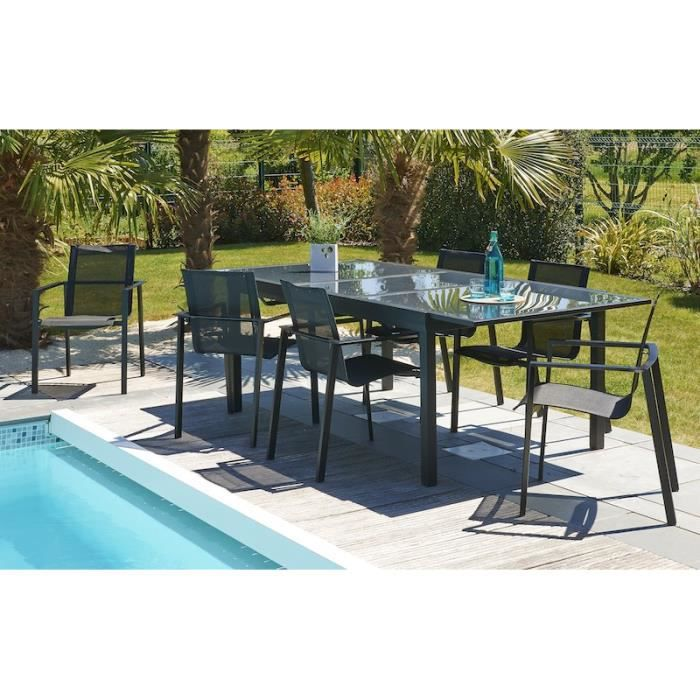MIAMI Ensemble de jardin en aluminium 8 places - Table extensible - Gris  anthracite