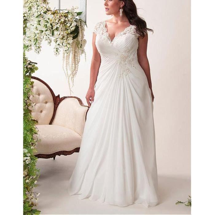 Robe de mariée de mariage longue traîne col