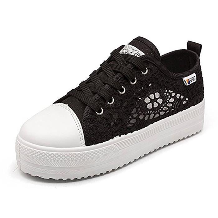 Minetom Femmes Casual Dentelle Lace Mode Toile Chaussures Bout Rond Talon Plat Espadrilles Loisir Fl/âneur Chaussures Baskets Sneakers /À Lacets