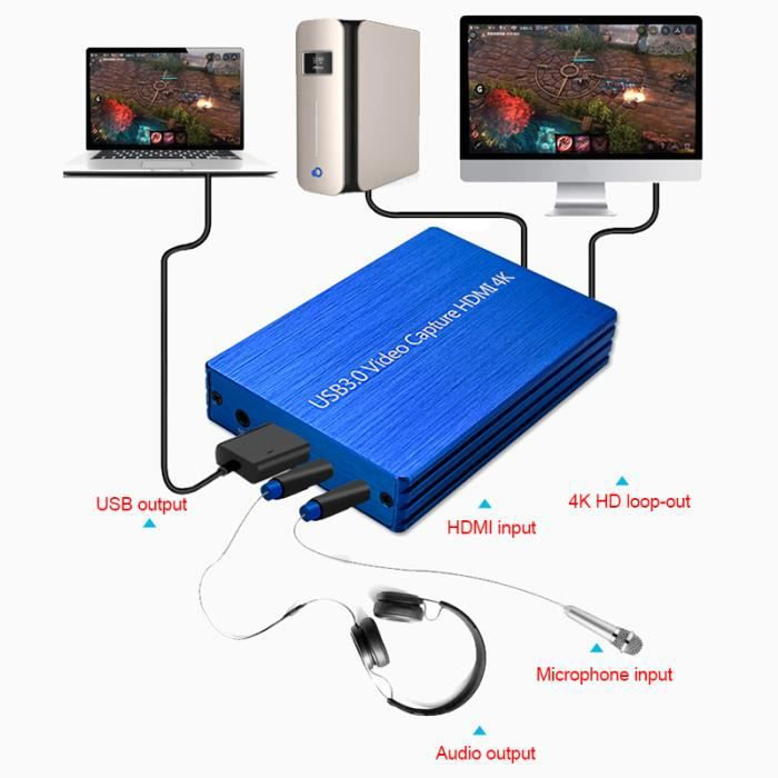 Carte de Capture vid/éo HD 4K 1080P HDMI USB 3.0 60fps OBS InLoveArts Carte de Capture de Jeu enregistreur vid/éo en Direct en Streaming de Jeu Convient pour ps4 Youtube Twitch