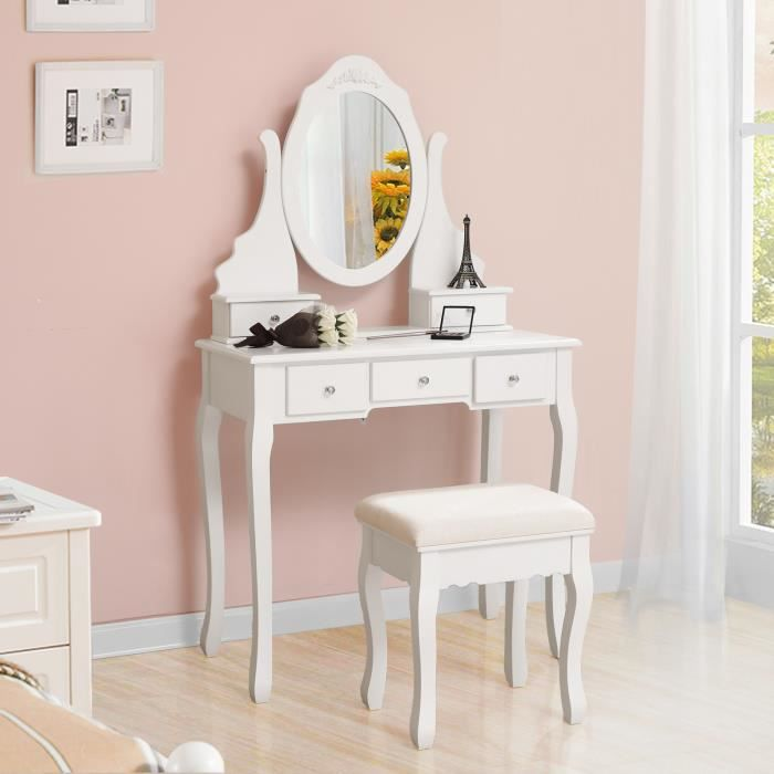 songmics coiffeuse table blanche de maquillage avec. Black Bedroom Furniture Sets. Home Design Ideas