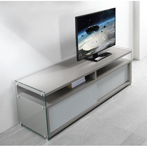 meuble tv porta verre bois gris et blanc achat vente. Black Bedroom Furniture Sets. Home Design Ideas