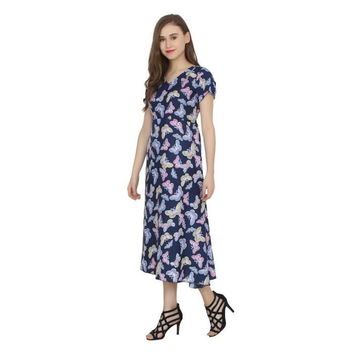 Womens Floral Printed Short Sleeve V Neck Maxi Dress MS9D1 Taille-38