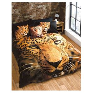 housse de couette 200x200 leopard achat vente housse. Black Bedroom Furniture Sets. Home Design Ideas