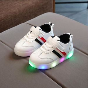 Toddler Enfants bébé rayé chaussures LED allument des