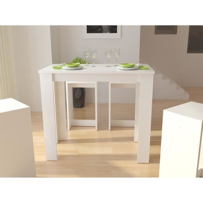 William table bar 2 personnes 120x60 cm laqu blanc for Ilot mange debout