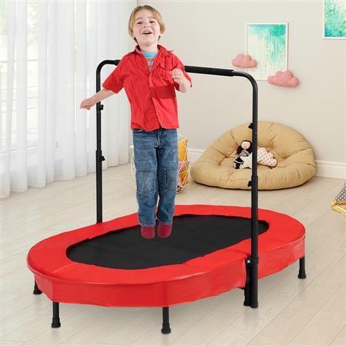 Trampoline de Fitness Professionnel 142*92*128cm avec Poignée Réglable Maximale 150 Kg Noir et Rouge
