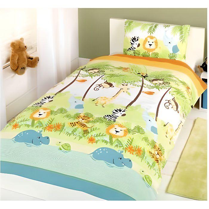 Parure de lit Jungle safari Housse de couette 120 x 150 cm pour lit bébé