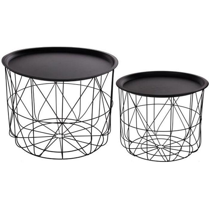 Lot de 2 tables à café gigognes avec plateaux amovibles -NOIR Noir