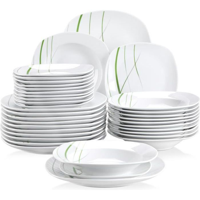 Veweet AVIVA 36pcs Assiettes Service de Table Pocelaine Assiettes Plates Assiette Creuse Assiette à Dessert Vaisselles