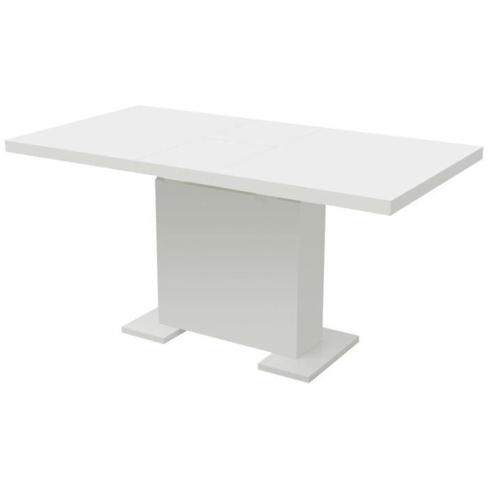 Table extensible de salle à manger Blanc brillant -QNQ