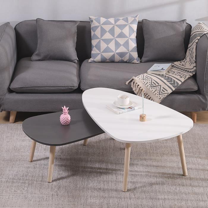2 x tables basses gigognes laquées gris blanc Table d'Appoint scandinave