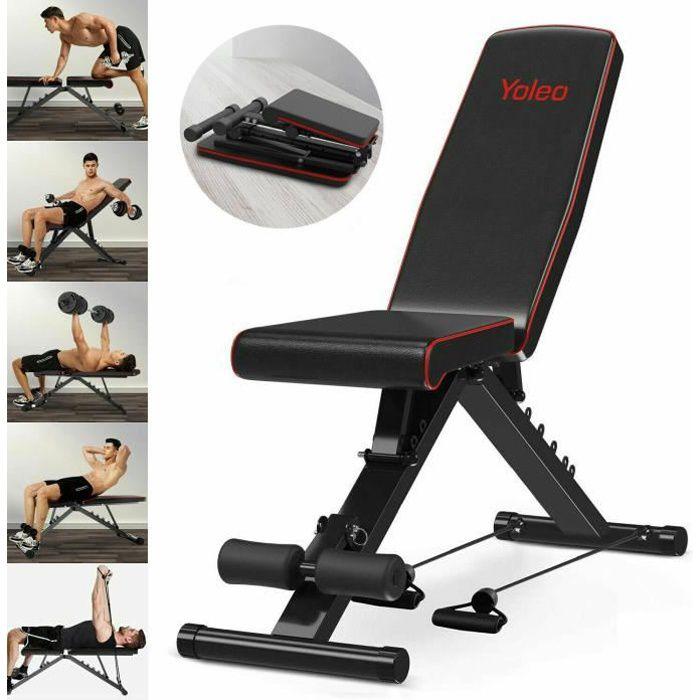 Banc De Musculation Réglable D'exercice Fitness Entrainement Abdominaux Dorsaux