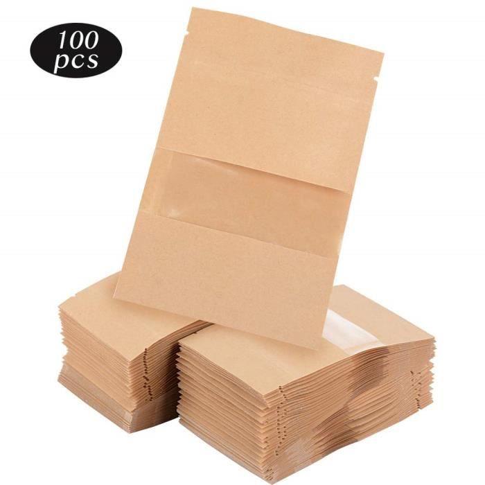 100pcs Sac Sachets en Kraft Papier 9 X 14cmcm avec Fermeture Zip Vintage pour Semences ou Bonbons