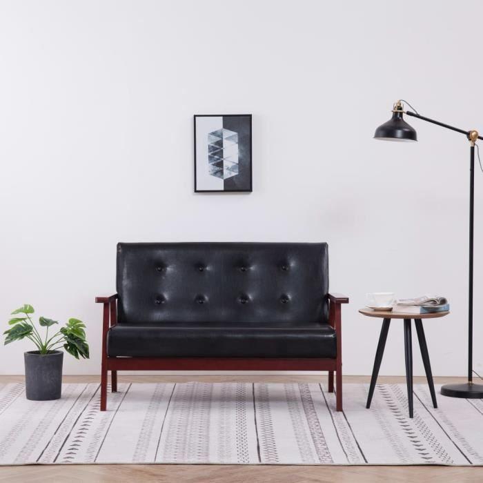 Meilleurs Meubles Canapé à 2 places Noir Similicuir Haute qualité & Moderne 46964