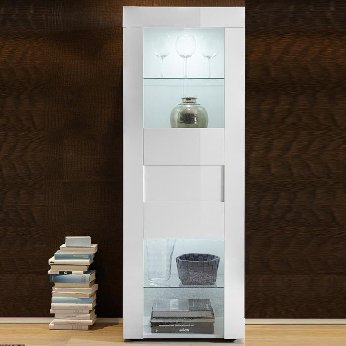 Vitrine blanc laqué brillant design NEWLAND LED à couleurs multiples L 61 x P 42 x H 167 cm Blanc
