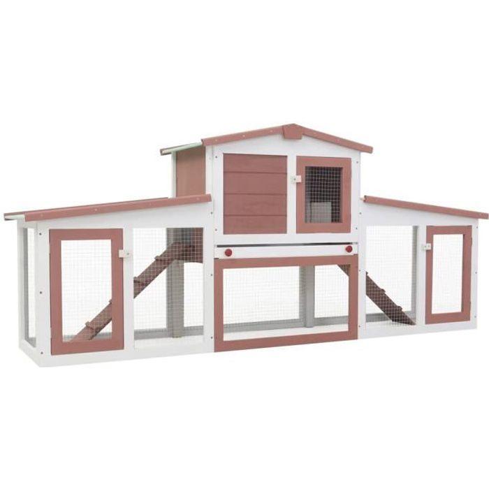 Clapier cage à lapins rongeurs poulailler pour petits animaux de compagnie large d'extérieur Marron et blanc 204x45x85 cm Bois