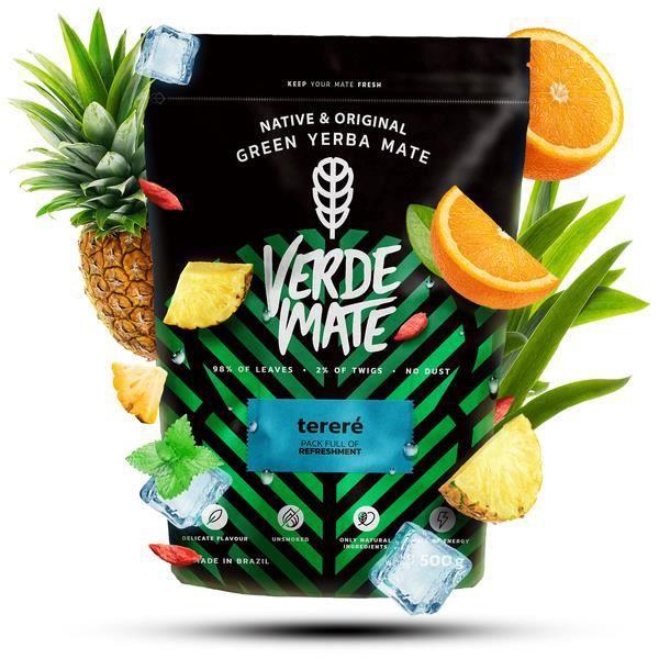 Yerba Maté Verde Mate Green Tereré - Verde Mate Tereré 500g - Yerba Maté du Brésil - Haute qualité - Fort rafraîchissement - Sans gl