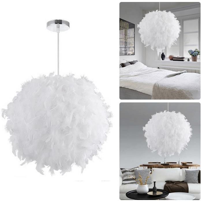 Plafonnier suspension en plumes au créatif, luminaire de plafond romantique-30cm-Blanc