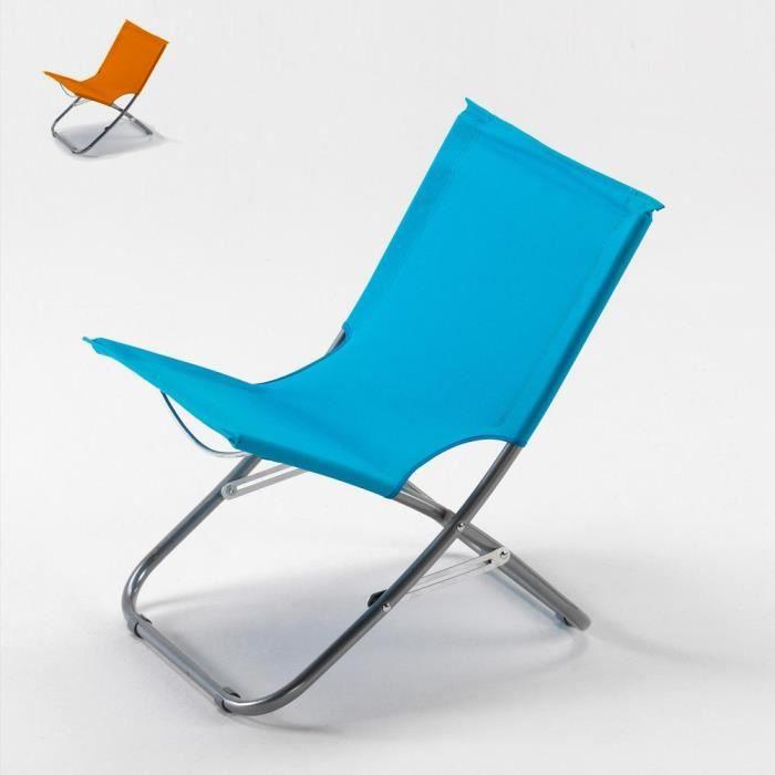 Chaise de plage transat pliante fauteuil piscine acier Rodeo, Couleur: Bleu