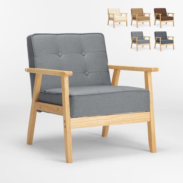 Fauteuil en bois au design scandinave vintage avec accoudoirs Hage, Couleur: Gris