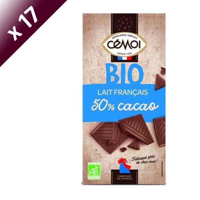 CEMOI Lot de 17 Tablettes - Dégustation Chocolat au lait 50% - Bio - 90g