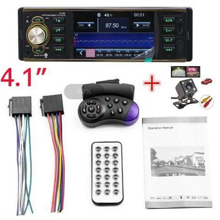 Autoradio Bluetooth 4019B 4,1- Écran 1 DIN Voiture Radio MP5 lecture Multimédia FM AUX USB/TF avec Télécommande+Caméra de Recul