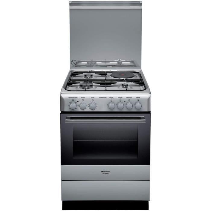 HOTPOINT H6M6C2AG(X)/FR - Cuisinière table mixte gaz + induction - 4 zones de cuisson - 60 cm - Inox