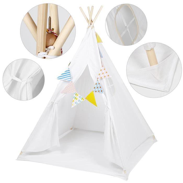Tipi Enfant avec tapis de sol, Toile Enfants Jouent Tente pour Intérieur & l'extérieur