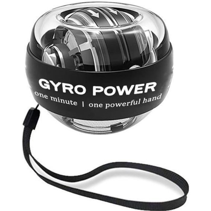 Gyroscope à démarrage automatique Power Ball Double Gyroscope Poignet Bras Muscle Exercice Fitness - Noir