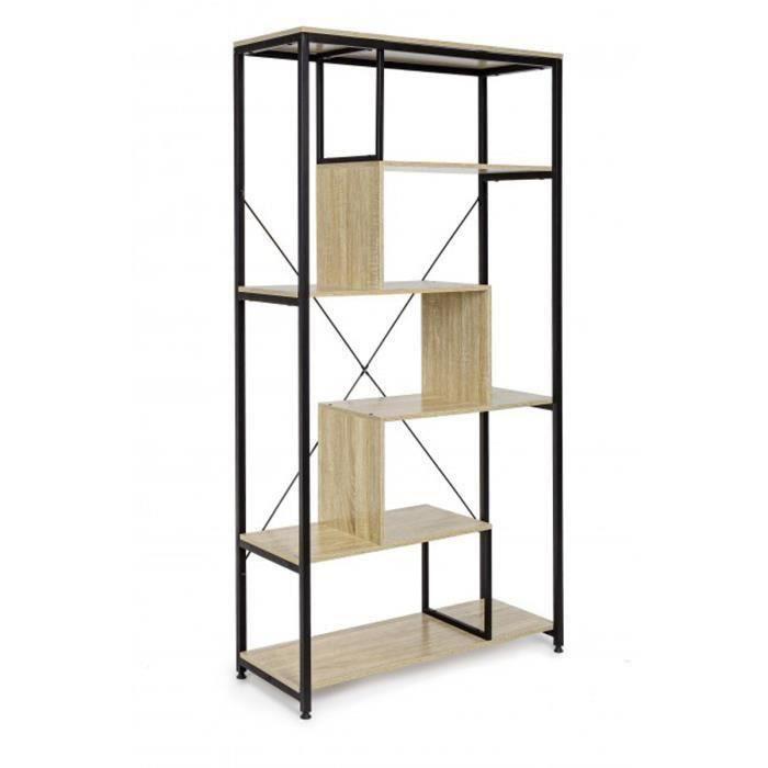 Bibliothèque en acier et bois - L 84 x P 34 x H 162 cm