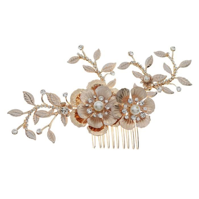 1 pc strass coiffure charmant belle peigne à cheveux mariage fleur forme chapeaux pour mariée femmes ANTIVOL - BLOQUE ROUE