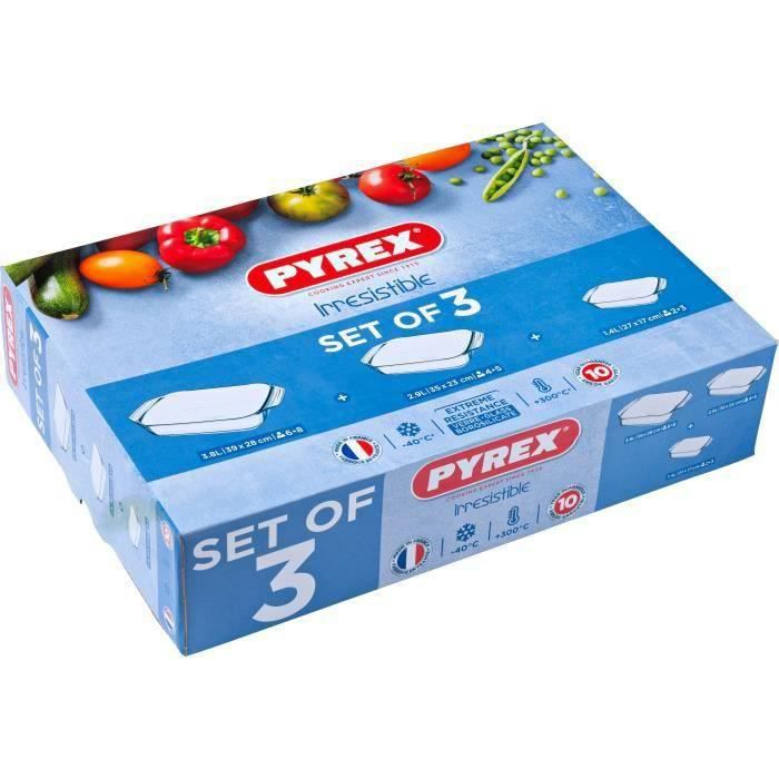 PYREX - Lot de 3 plats à four rectangulaires Irresistible 31x20 cm + 35x23 cm + 39x25 cm