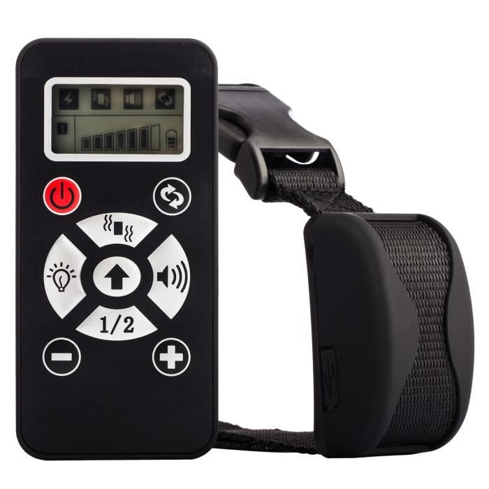 Tera® collier de dressage Anti-aboiement rechargeable étanche manuel/automatique à portée de 800 m pour entraîner chien (Noir)