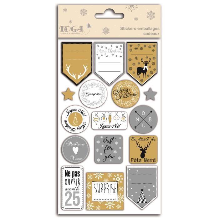 TOGA Planche Stickers Emballages Cadeaux - Or Et Argent