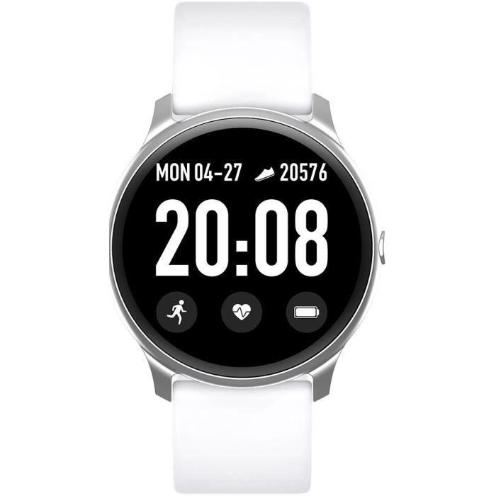 WEE'PLUG Smartfit Montre connectée - Smartwatch élégante - Multisports - Cardio - Bluetooth - Waterproof - Blanc