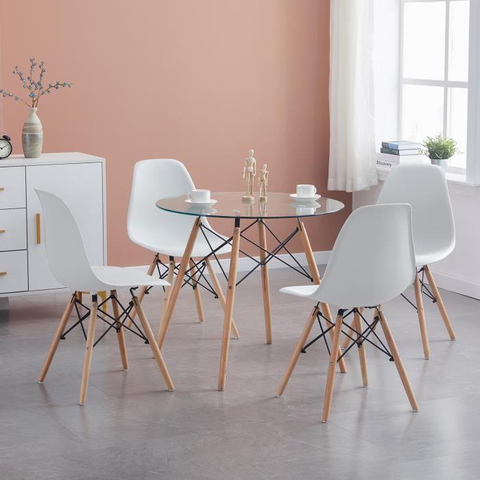 TABLE DE CUISINE  Dora Ensemble Complet Verre Table et 4 Chaise de S