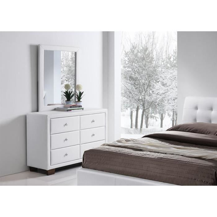 commode simili blanc 6 tiroirs avec miroir samara achat vente commode de chambre commode. Black Bedroom Furniture Sets. Home Design Ideas