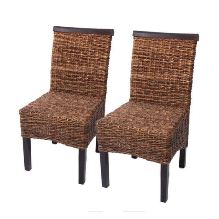 6x chaises salle a manger banane tresse achat vente chaise marron cdiscount. Black Bedroom Furniture Sets. Home Design Ideas