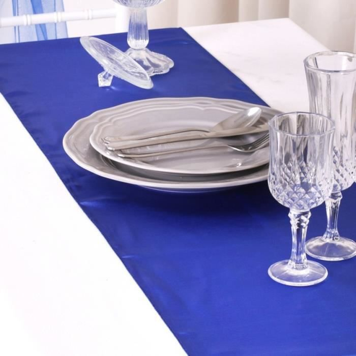 Chemin table nappe noeud chaise satin bleu royal achat for Chemin de table bleu