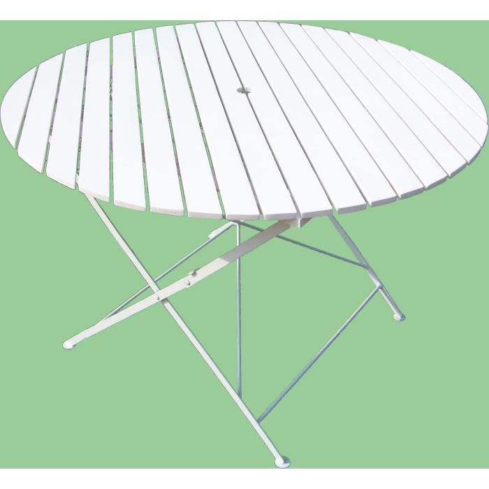 Table Ronde Pliante Bistro Blanche Achat Vente Table De Jardin Table Ronde Pliante Bistro