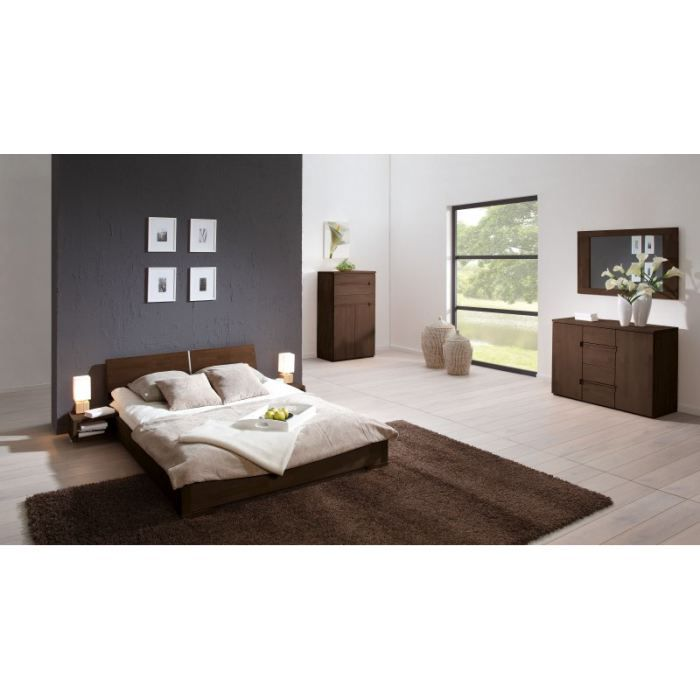 lit bois design zenno bas 160x200 weng t te n 8 achat vente structure de lit lit bois. Black Bedroom Furniture Sets. Home Design Ideas