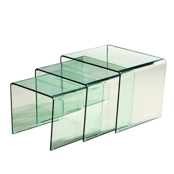 table basse table d 39 appoint gigogne verre transparent astuce achat vente table basse table. Black Bedroom Furniture Sets. Home Design Ideas