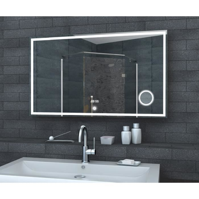 miroir de salle de bain led avec horloge miroir et switch touch 100x60cm achat vente miroir. Black Bedroom Furniture Sets. Home Design Ideas