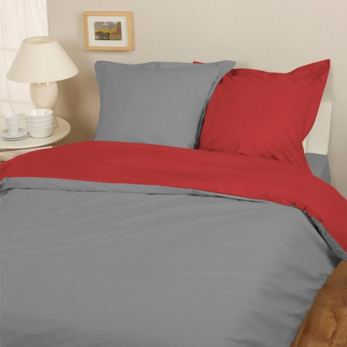 parure housse de couette flanelle 100 coton bicolore gris rouge 240x220 cm 2 taies d. Black Bedroom Furniture Sets. Home Design Ideas