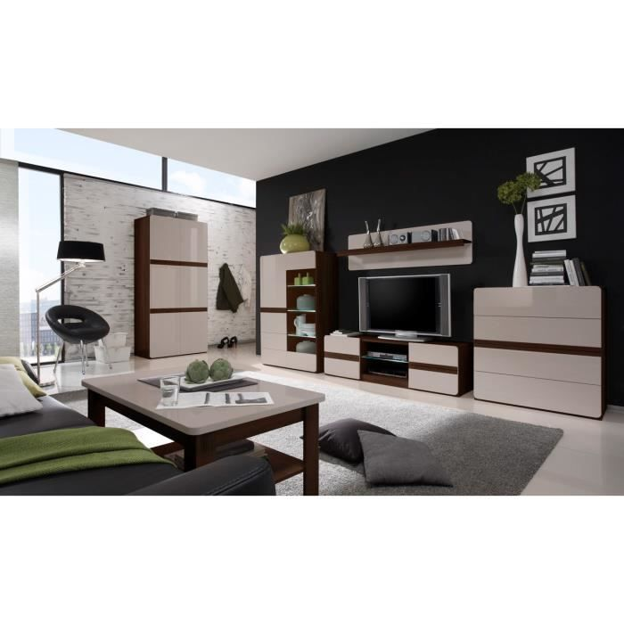 meuble tv commode vaissellier table nesele i bois brun et blanc achat vente salle. Black Bedroom Furniture Sets. Home Design Ideas