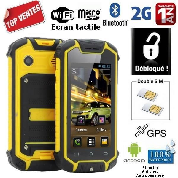 z 18 jaune etanche antichoc gps 2g android 4 achat smartphone pas cher avis et meilleur. Black Bedroom Furniture Sets. Home Design Ideas