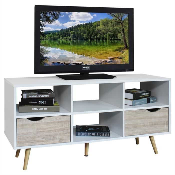 meuble tv nantes blanc et sonoma achat vente meuble. Black Bedroom Furniture Sets. Home Design Ideas