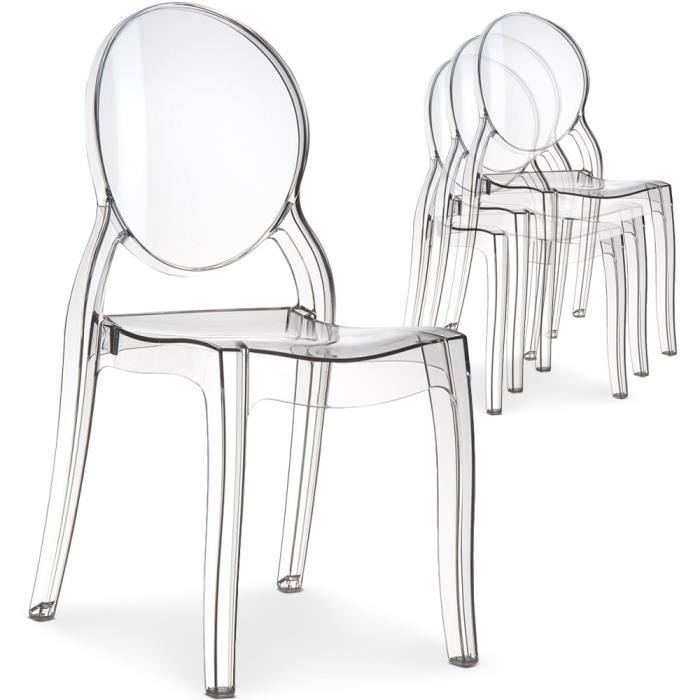 Lot de 4 chaises diva plexi transparent achat vente for Chaise plexi transparente ikea