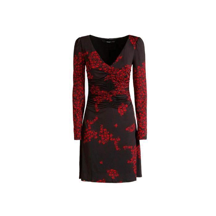 Guess Robe Femme W84k73 Babette Noir Motifs Fleur Rouge Taille S Noir Achat Vente Robe Cdiscount
